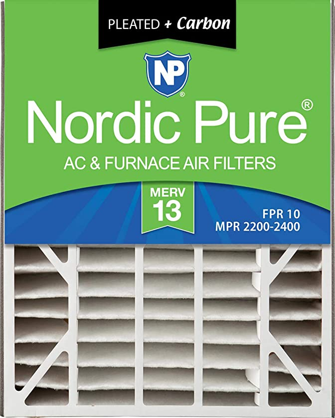 Nordic Pure 20x25x5 (4-7/8 Actual Depth) MERV 13 Plus Carbon Trion Air Bear Replacement AC Furnace Air Filter, Box of 2