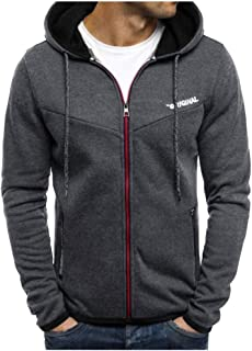 Sweatshirts for Men Hoodie Zipper Patchwork Autumn Winter Slim Long Sleeve Lightweight Pullover Tops Outwear Designed