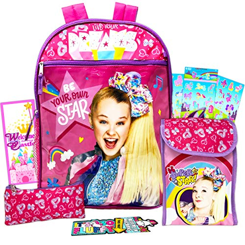 Jojo Siwa Backpack with Lunch Box For Girls 8-Pc Bundle ~ Deluxe 16' School Bag, Lunch Bag, Water Bottle, Stickers, and More (Jojo Siwa School Supplies)