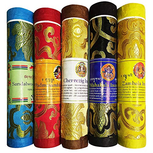 Tibetan Incense Sticks ~ Spiritual Healing Hand Rolled Assorted Incense Made from Organic Himalayan Herbs ~ Aromatherapy Incense for Pressure Relief, and Zen Meditation