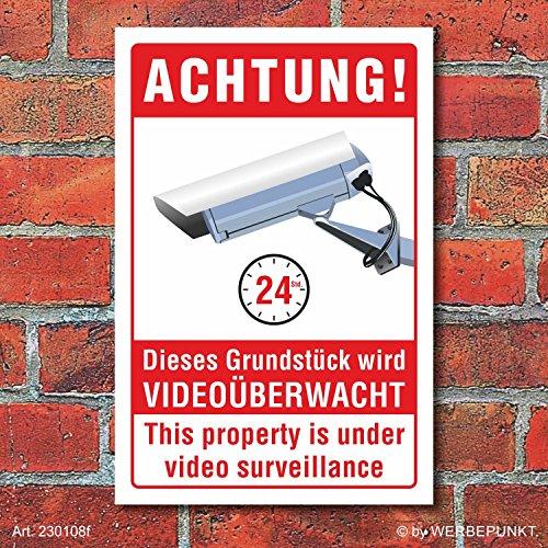 Schild Grundstück Videoüberwacht Videoüberwachung englisch 3 mm Alu-Verbund 450 x 300 mm
