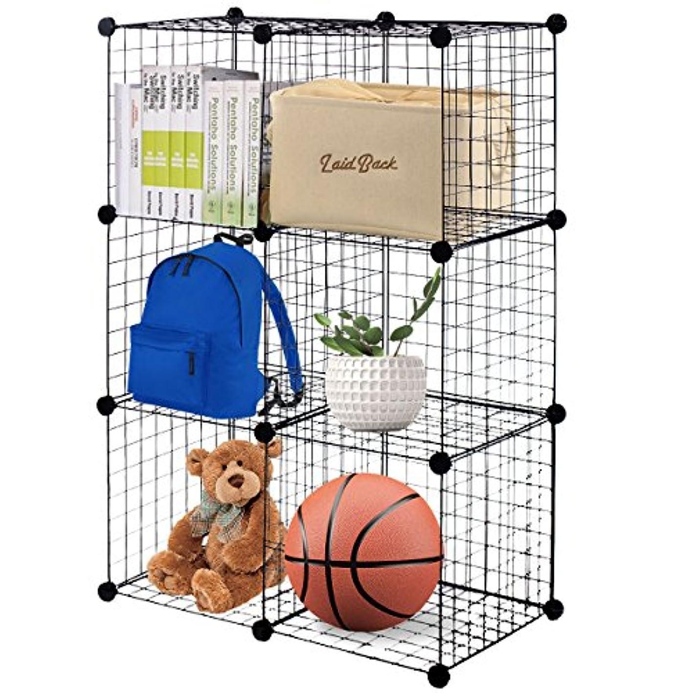 Tangkula Metal Wire Free Standing Modular DIY Bookcase Closet Organization Storage (6 Cube), 14''X14''(Single Frame), Black