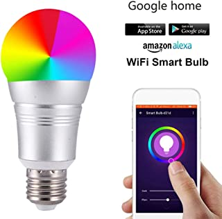 Show Time?Smart WiFi Light Bulb, Dimmable LED Multicolor Bulbs Smart Device and Voice Control Compatible with Alexa and Google Home 60W Equivalent RGB Bulb,B22