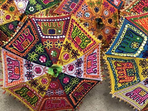 GANESHAM indischer mehrfarbiger Strandschirm UV-Schutz Schirm Sonnenschirm Stickerei Boho-Sonnenschirm Indische Hochzeit Schirme Sonnenschirm (5 Stück) Elefant