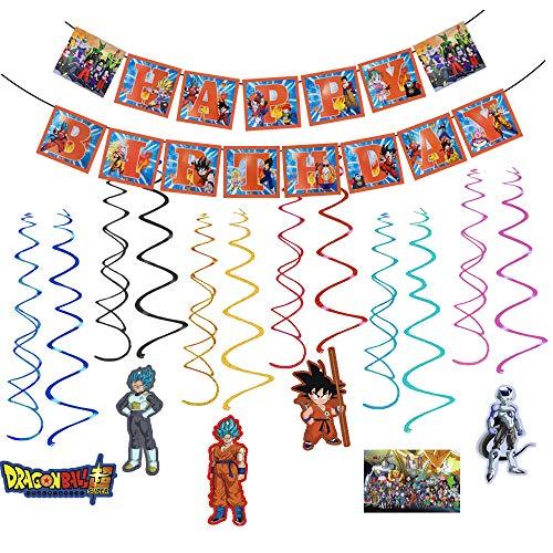Dragon Ball Z Birthday Party Supplies Decorations,31PCS Super Saiyan Goku Gohan Character Hanging Swirl Decorations with Dragon Ball Z Banner