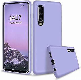 CRABOT Compatible con Samsung Galaxy A70 Silicona Líquida Caso Cubierta de Goma Anti-caída Resistente a Los Arañazos Carcasa del Teléfono+1*(Protector de Pantalla Gratuito)-Púrpura