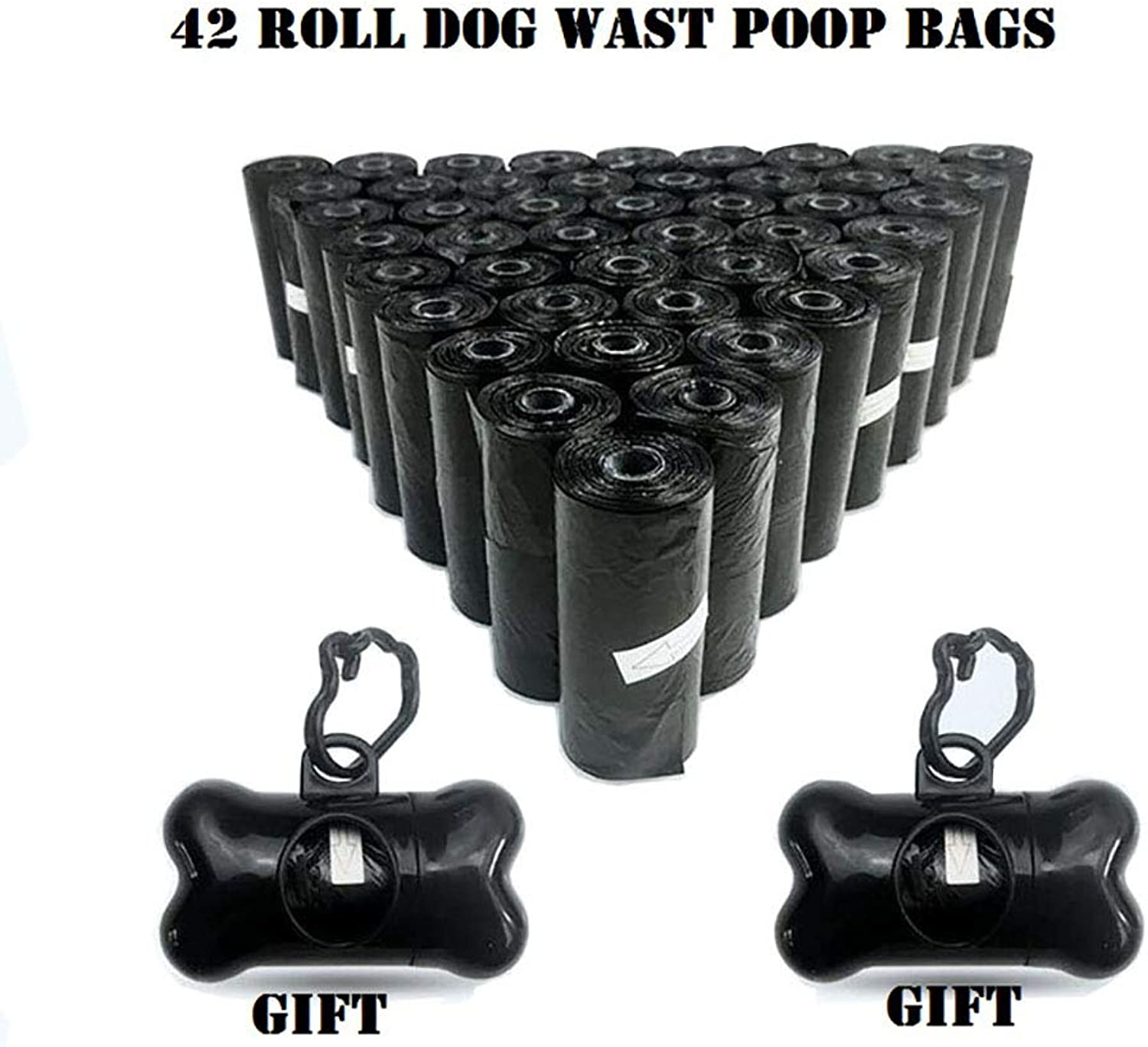New 42 Rolls Dog Waste Bags with Dispenser and Leash Clip, Poop Bag Pet Durable Refill Rolls Black Pooper Scoopers,630COUNT