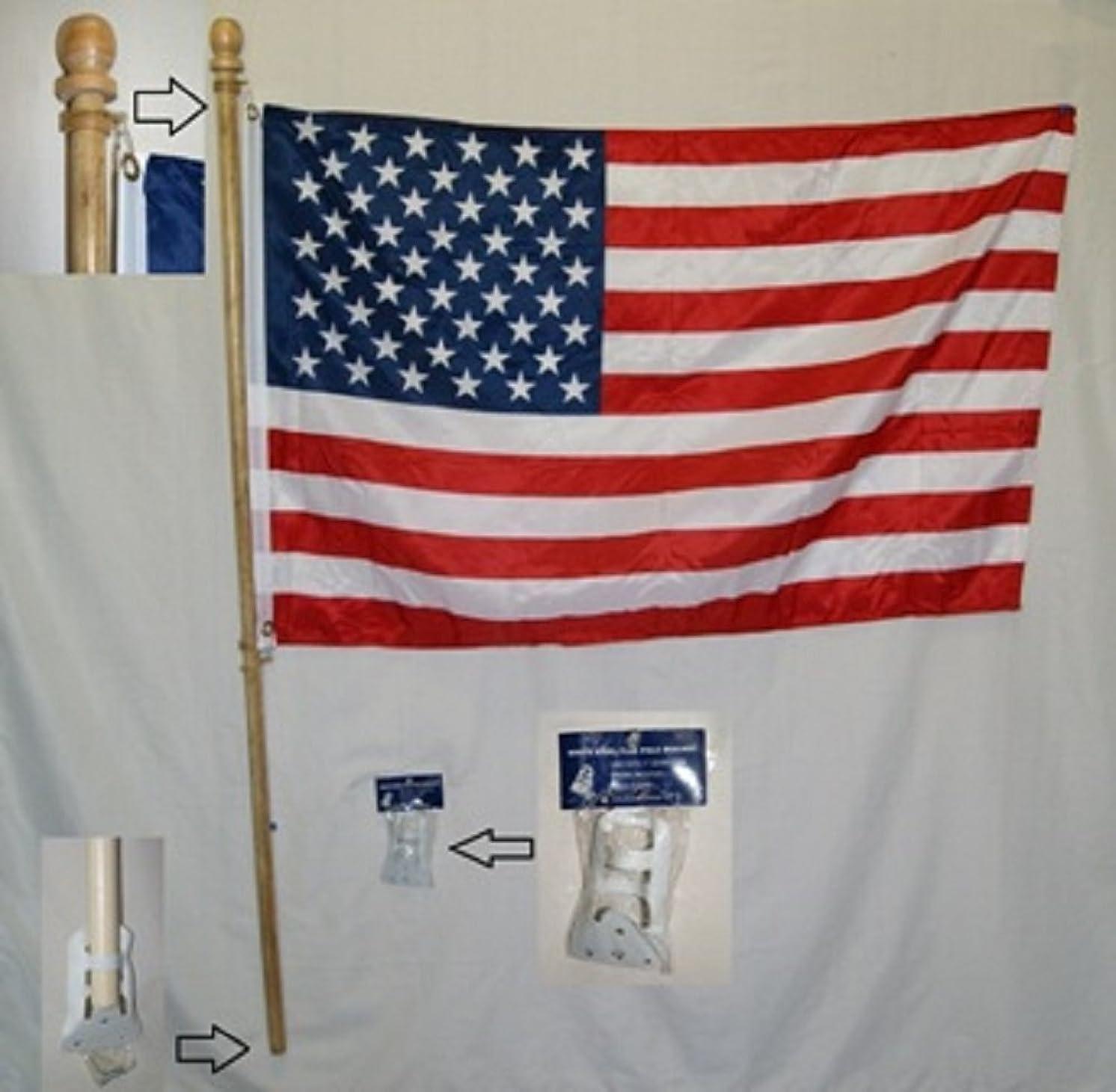 安心させると遊ぶテクニカル5足木製Non FurlチューブフラグポールキットW / 2.5?' x4?' American Flag w /ブラケット