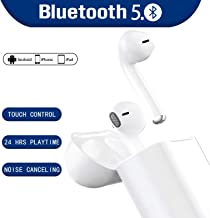 Bluetooth 5.0 Headphones Wireless Earbuds with 【24 Hrs Charging Case】 3D Stereo in-Ear Built-in Dual HD Mic Earphones Premium Sound Headphones for iPhone Samsung Airpods Apple Bluetooth Earbuds