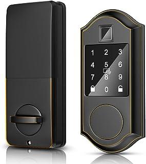 Narpult Smart Door Lock, Fingerprint Electronic Deadbolt Door Lock, Keyless Entry Door Lock Featuring Auto-Locking, Smart Door Lock, Compatible with Alexa, Google Assistant - Bronze