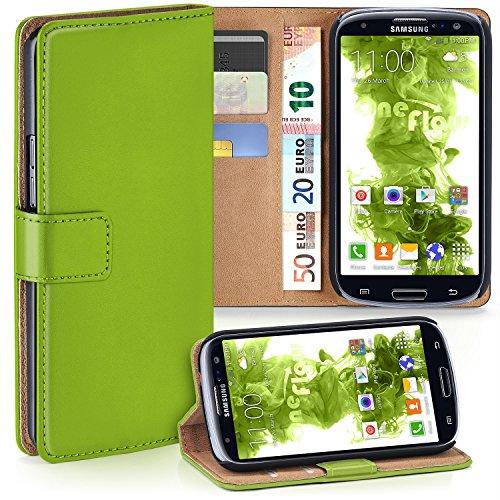 MoEx Premium Book-Hülle Handytasche kompatibel mit Samsung Galaxy S3 / S3 Neo | Handyhülle mit Kartenfach & Ständer - 360 Grad Schutz Handy Tasche, Grün