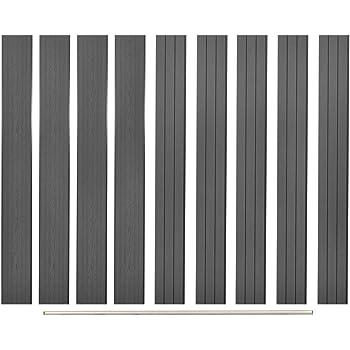 Tidyard Panel de Valla Cuadrado Jardín Madera, Poste de Valla de Repuesto 9 Unidades de WPC Gris 170 cm: Amazon.es: Hogar