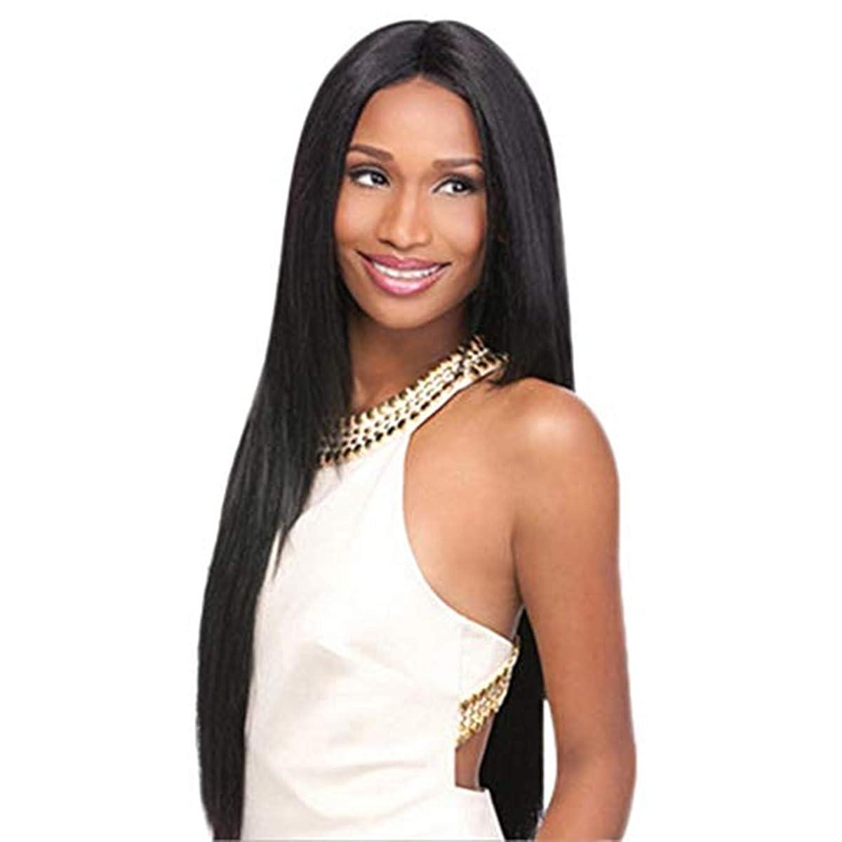 遊びます教え句完全なかつら80CMをしている女性の黒い長いストレートの髪のかつらの役割