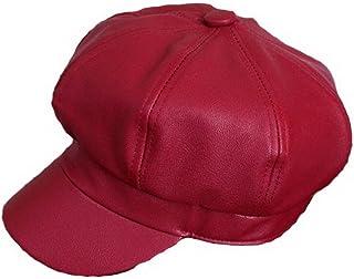 Sponsored Ad - Women PU Leather Newsboy Cabbie Peaked Beret Cap Vintage Baker Boy Visor Hat