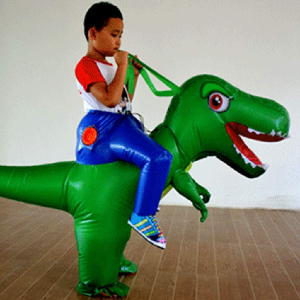 XXLYY Opblaasbaar Volwassenen Kinderen Rijdend Dinosaurus Kostuum Maskerade Wildlife Orange