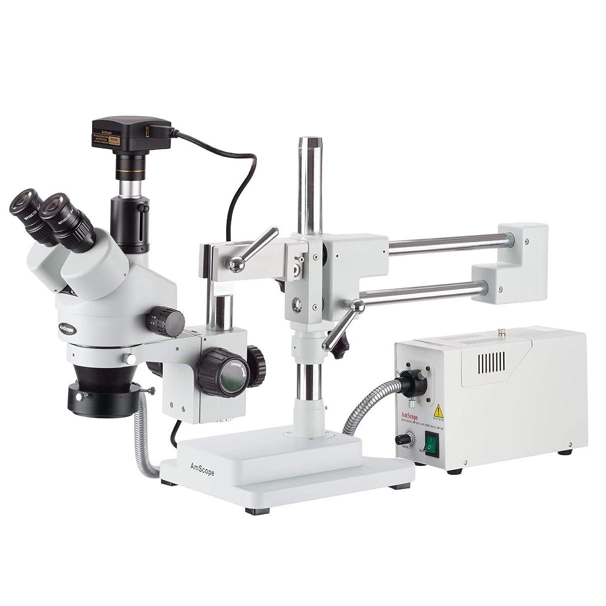 八百屋長方形常識AmScope ファイバー光と5MP USB3カメラとスタンドブームに3.5X-45Xサイマルフォーカルステレオズーム顕微鏡