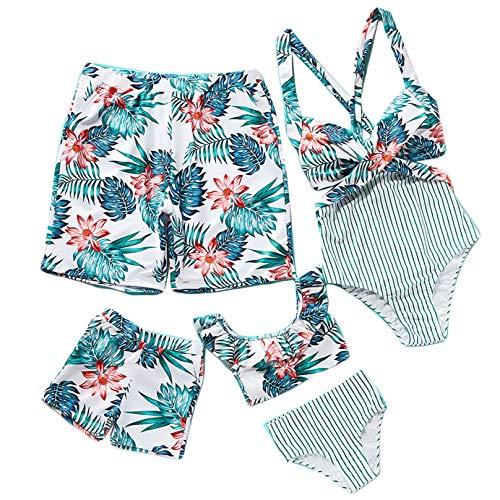 Traje de Baño para Familia Estampado de Flores Bikini Madre e Hija Iguales,Bañador Padre e Hijo Trajes de Playa