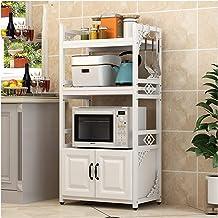 KOKOF Estantes de Cocina Horno de microondas Estante de Almacenamiento Piso Piso Hogar multifunción con estantes de gabinete Tres Capas Blanco White1