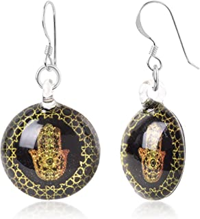 Sterling Silver Murano Glass Golden Hamsa Hand of Fatima Protection Amulet Round Dangle Earrings