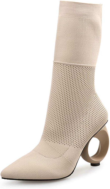 LIURUIJIA Women's Elastic Panel Slip On Platform Wedge Heel Middle Booties TLWZX-1168-2