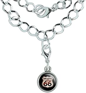 GRAPHICS & MORE Hawg Heaven Route 66 Highway Hog Biker Motorcycle Silver Plated Bracelet with Antiqued Charm
