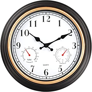 HYLANDA 12 Inch Indoor/Outdoor Retro Silent Non Ticking Wall Clock with Thermometer&Hygrometer Combo, Quartz Decorative Wall Clocks Battery Operated for Kitchen Home Bathroom Patio(Black Gold)