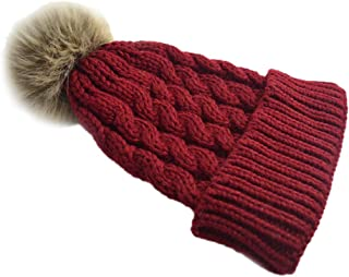 Bullidea Women Lady Winter Warm Hat Hand Knitting Cap with Pompon Decoration Cap Keep Warm in Cold Weather Elegant Design(Red)