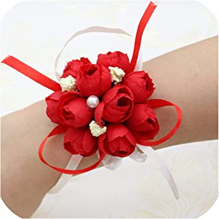 Wedding Decor Marriage Rose Wrist Corsages Hand Flower Silk Lace Pe Foam Artificial Brides Bridesmaid Wrist Flower Christmas,Style 1 Red