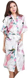 Womens Long Fashion Kimono Robe with Peacock and Blossoms