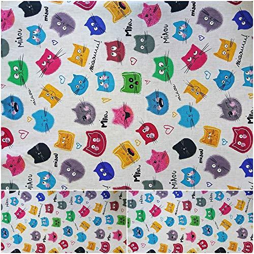 DIE NÄHZWERGE Baumwollstoff Motivkollektion Katzenköpfe (Miaou) – Meterware ab 50cm | 100% Baumwolle – Nähen Quilten Kinderstoff Tiere Katze