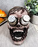 Ebros Gory Eyeless Walking Dead Zombie Head Salt and Pepper Shakers Holder Figurine Set 7.25' Long with Glass Shakers Zombie Apocalypse Fans