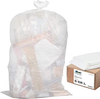 """Plasticplace Contractor Trash Bags 55-60 Gallon │ 3.0 Mil │ Clear Heavy Duty Garbage Bag │ 37.5"""" x 56.6"""" (25 Count)"""