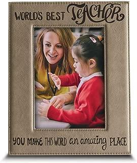 BELLA BUSTA- World's Best Teacher-You Make This World an Amazing Place-Teacher's Day Gift-Teacher Gift -Teacher Appreciation Gift-Engraved Leather Picture Frame (5 x 7 Vertical)