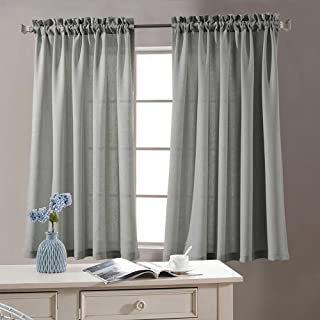 jinchan Grey Sheer Curtains for Living Room 54 Inches Length Casual Weave Textured Semi Sheer Privacy Window Treatment Set of 2 Curtain Panels for Bedroom
