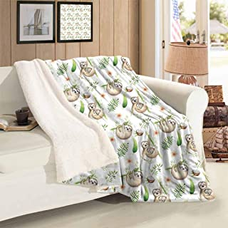 Xlcsomf Thickened Lamb Cashmere Blanket Sloth Camping Tourism Baby Sloth and Mother Soft Colored Flowers Coconut Tree Leaves Happy Family,60 x 47 inch Light Brown Green