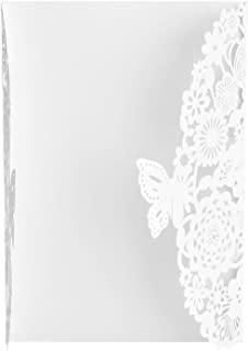 Wedding Cards, DIY Blank High-End Wedding Invitations, for Business Invitation Wedding(white, Butterfly)