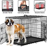 BestPet Dog Crate for Large Medium Dogs Dog Cage Kennel 48 Inches Pet Playpen Folding Indoor Outdoor Double Door Travel Metal Dog Pen with Plastic Tray