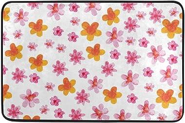 Not Slip Doormats Rugs Pink and Orange Flowers Seamless Soft Foam Printing for Living Room Kids Bedroom Bathroom Door Mats 15