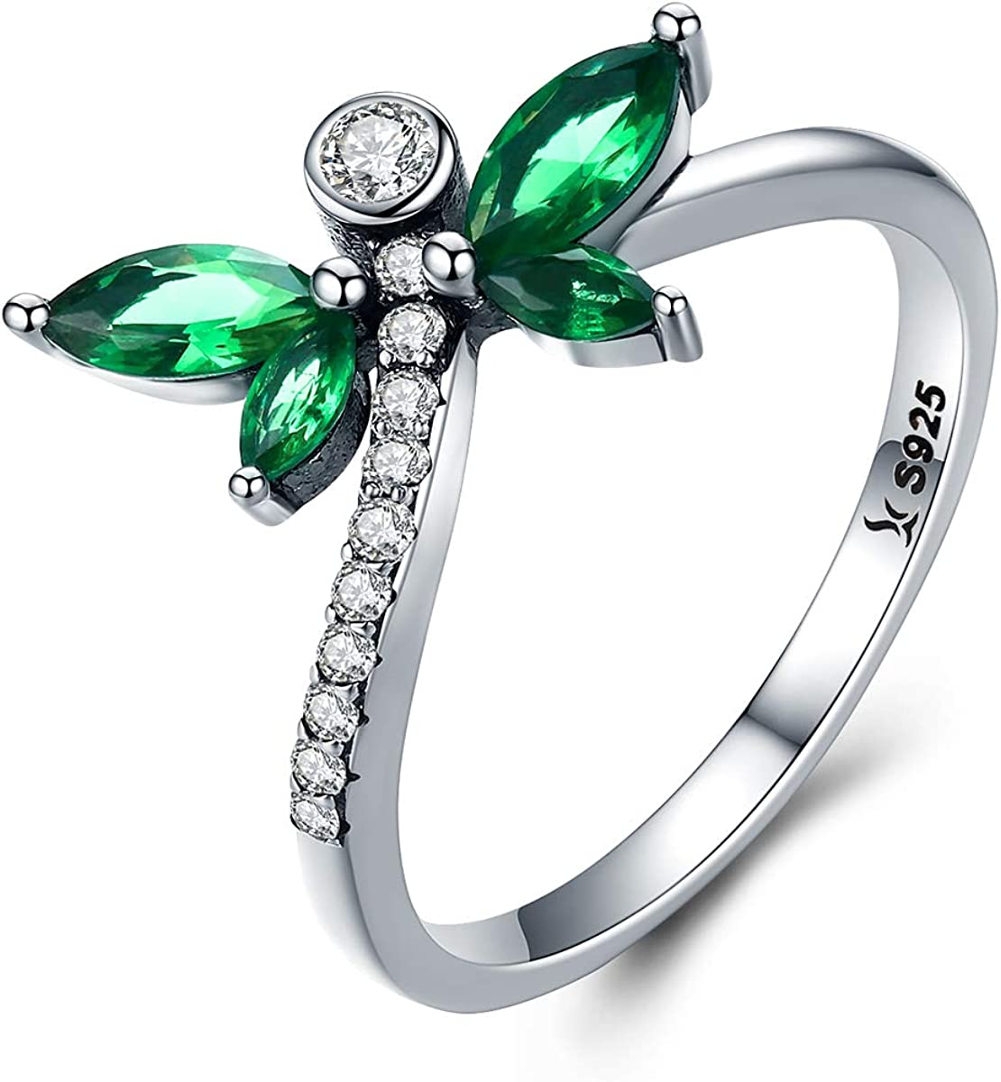 shipfree Petite Dragonfly 925 Sterling Cheap mail order shopping Ring Silver Green CZ
