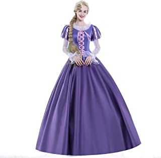 Women Girl Deluxe Princess Party Dress Costume Halloween Long Purle Palace Ball Gown Outfit Suits Adult