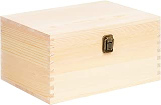 Extra Large Rectangle Unfinished Pine Wood Box Natural DIY Craft Stash Boxes with Hinged Lid and Front Clasp for Arts Hobbies and Home Storage-10.71x8x5.66 Inches