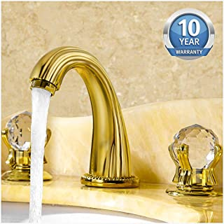 Aposhion Luxury Gold Finish Bathroom Faucet with Crystal Knobs 3 Holes Bath Sink Waterfall Basin Mixer Tap,