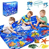 INNOCHEER Ocean Toys with Kids Play Mat, Educational Realistic Ocean Sea Animal Toys Playset to Create an Ocean World Including 12 Marine Animals and 3 Plants, for Boys & Girls