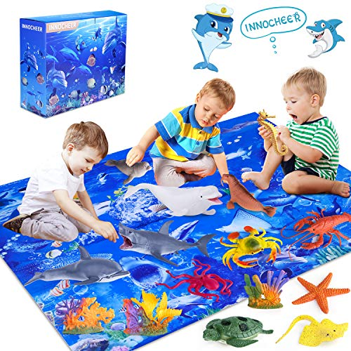 INNOCHEER Ocean Toys with Kids Play Mat, Educational Realistic Ocean Sea Animal Toys Playset to Create an Ocean World Including 12 Marine Animals and 3 Plants, for Boys & Girls Ages 3-8