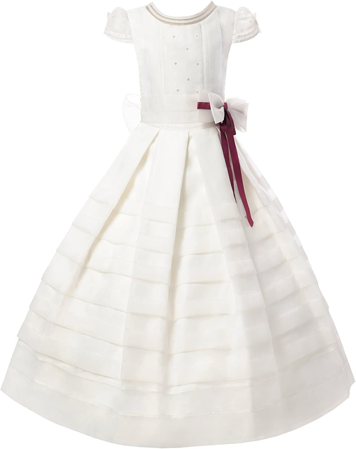 AISLE STYLE First Holy Communion Dresses Flower Girl Organza Ball Gown with Nice Rubine Band