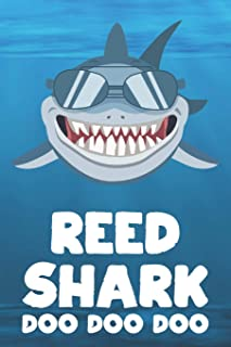 Reed - Shark Doo Doo Doo: Blank Ruled Personalized & Customized Name Shark Notebook Journal for Boys & Men. Funny Sharks Desk Accessories Item for 1st ... Supplies, Birthday & Christmas Gift Men.