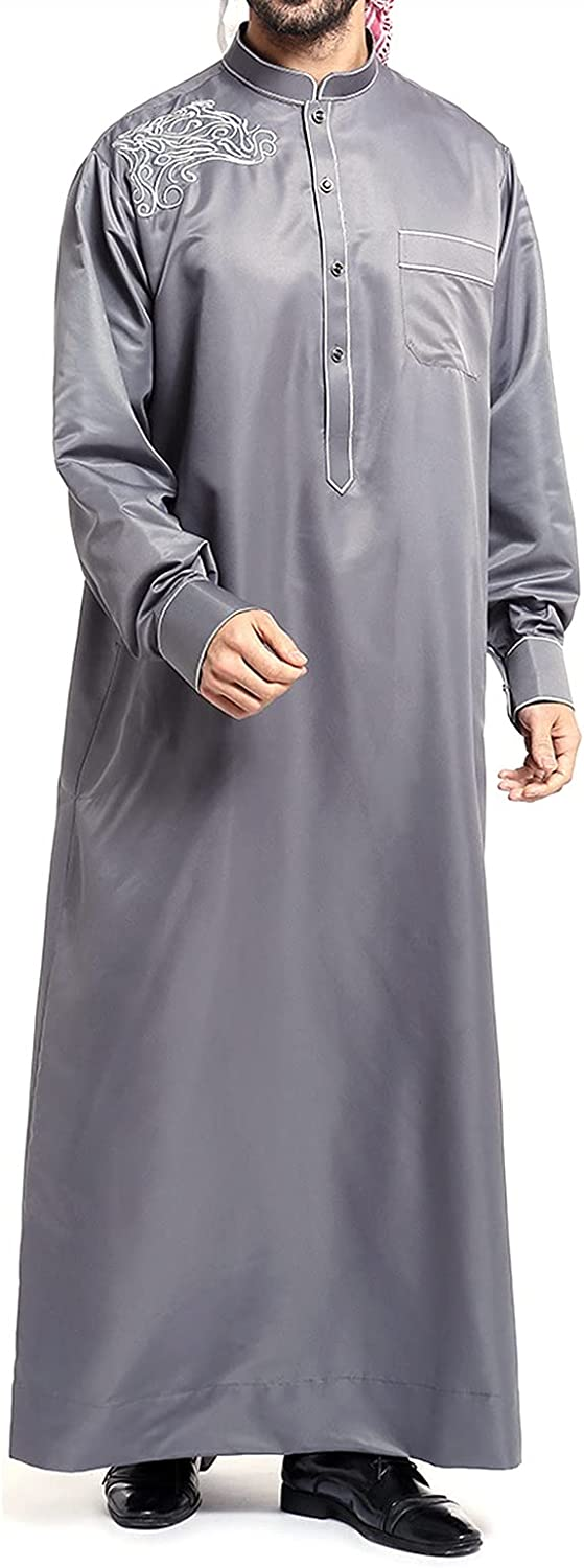 Muslim Islamic Men's Robes, East Style Embroidered, Loose-Fitting Design, Comfortable Polyester Fabric, Long Sleeve,Have Pockets, for Business Casual Daily (Color : Dark Gray, Size : Medium)
