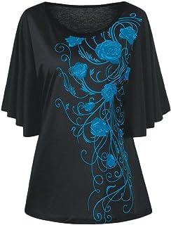 99c3859f6b92f FORUU Plus Size Fashion T Shirts for Women Tiny Printed Drape Sleeve Tops  Blouse