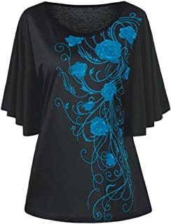 FORUU Plus Size Fashion T Shirts for Women Tiny Printed Drape Sleeve Tops Blouse