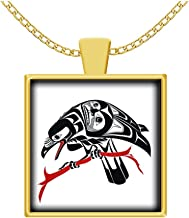 Hot Fresh And Funny Raven Necklace Indian, Pacific Northwest Native Art | Haida Pendant, Gold-Plated Square